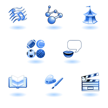 physical education: a subject or category icon set eg. science, language, literature, history, music, physical education etc