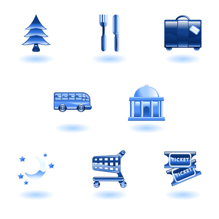 Tourist locations icon set Icon set relating to city or location information for tourist web sites or maps etc. Stock Vector - 4814148
