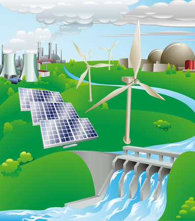 fotovoltaikus: Conceptual illustration showing many different types of power generation, including nuclear, fossil fuel, wind power, photovoltaic cells, and hydro electric water power