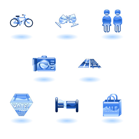 Tourist locations icon set Icon set relating to city or location information for tourist web sites or maps etc. Vector