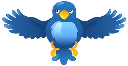 aves caricatura: Un Tweet ci�n twitter ci�n ave azul icono o s�mbolo