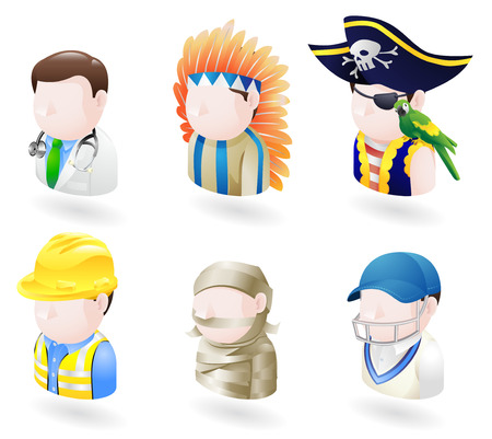 professions: An avatar people web or internet icon set series. Includes a doctor, native American, pirate, builder or construction worker or engineer, a mummy and a cricket player, sports man. Illustration