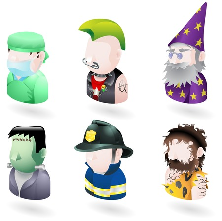 avatar: An avatar people web or internet icon set series. Includes a doctor or surgeon, a punk, a wizard or magician, Frankenstein monster, a firefighter or fireman and a caveman.