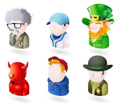 encapuchado: Un avatar personas web o de Internet icono conjunto serie. Incluye un cient�fico o un profesor, un jugador de b�isbol, un duende irland�s, un diablo o Satan�s, un ni�o o adolescente en un principio con capucha, y un sheriff o cowboy
