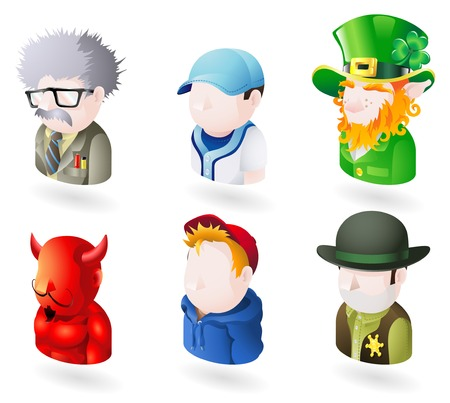 avatars: Un popolo avatar web o internet icona impostare serie. Comprende uno scienziato o un insegnante, un giocatore di baseball, un irlandese Leprechaun, un diavolo o Satana, un bambino o adolescente in un incappucciati alto, e uno sceriffo o cowboy Vettoriali