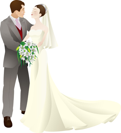 A vector illustration of a bride and groom in love, getting married on their wedding day.  Vector