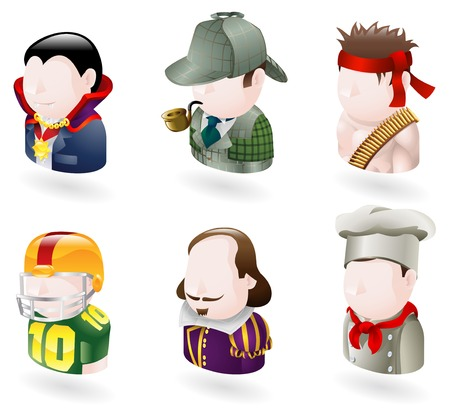 An avatar people web or internet icon set series. Includes a vampire or count dracula character, a sherlock holmes character, a rambo character, an american football player, a shakespear character, and a chef or cook     Vector