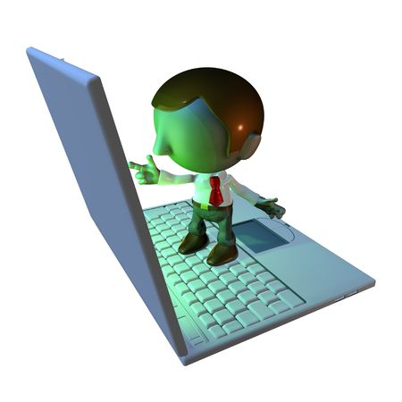 assignments: 3d business man character standing on oversized or large laptop or keyboard Stock Photo