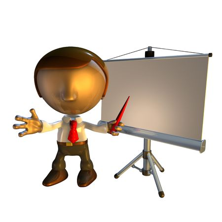 3d business man character standing with presentation equipment or screen   photo