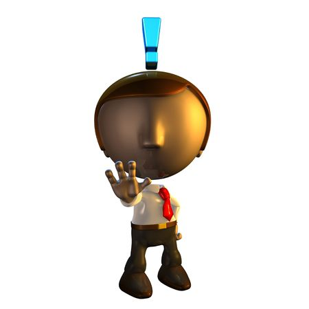 3d business man character with exclamation mark holding his hand out in warning Stock Photo - 5248045