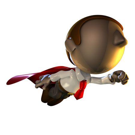 hombre caricatura: 3d car�cter del hombre de negocios que vuelan con una capa roja