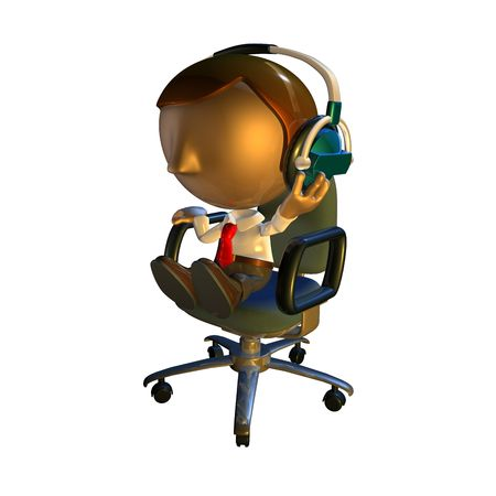 3d business man character sitting in an office chair with headphones listening  photo