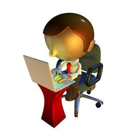 3d business man character sitting in office chair with laptop at desk photo