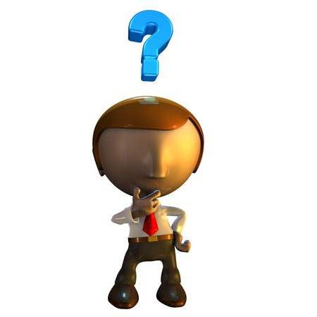 3d business man character with question mark over his head photo