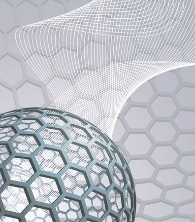 illustration background with buckyball or buckminsterfullerene and abstract mesh wave graphic Vector