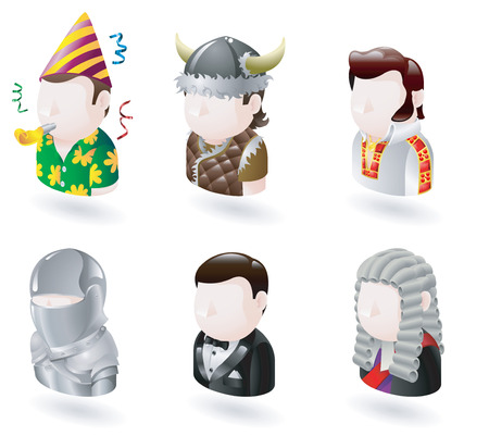 wig: An avatar people web or internet icon set series. Includes a party man, Viking, elvis character, knight, james bond character and judge.