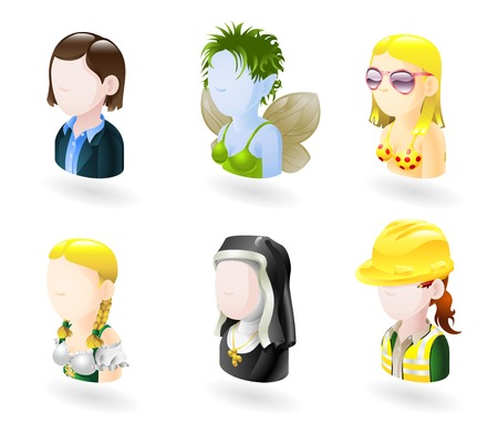 avatar: An avatar people web or internet icon set series. Includes female characters of business woman, fairy or elf, bikini girl, german style waitress, nun and female engineer