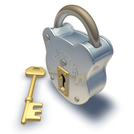unlocking: 3d render of padlock and key illustration Stock Photo