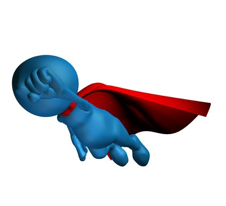 caped: 3d blue character flying with a red cape Stock Photo