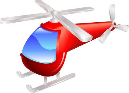 Cartoon style red helicopter vector illustration Stock Vector - 5338106