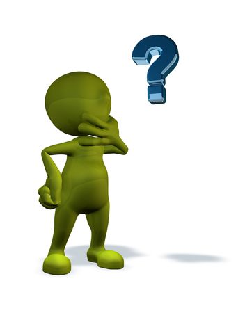 questioning: 3d rendered character illustration posing with question mark Stock Photo
