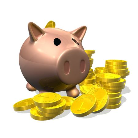 3d rendered illustration of a cartoon piggybank with gold coins Stock Illustration - 5421322