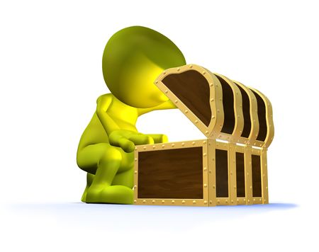 discovering: 3d illustration of a cute character discovering unseen treasure in an old style chest or trunk