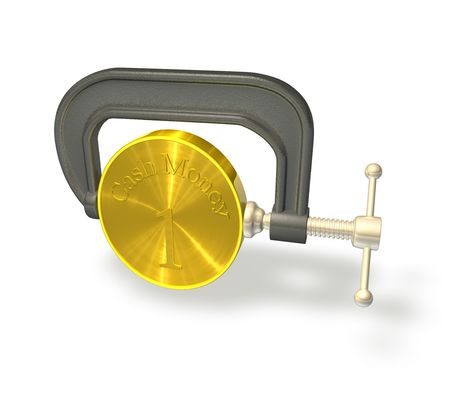3d render illustration of a clamp or vice squeezing a coin to represent the credit crunch. Stock Illustration - 5421320