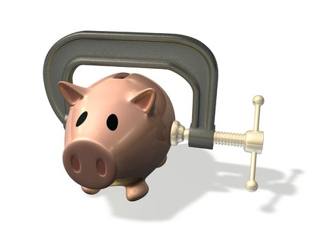 credit crunch: 3d render piggy bank in vice representing the credit crunch or financial difficulty Stock Photo