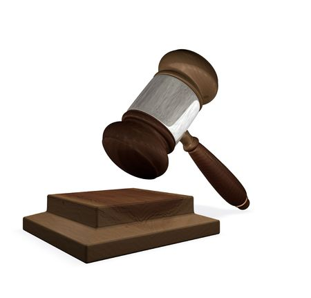 3d render of a gavel and block illustration representing the legal system illustration