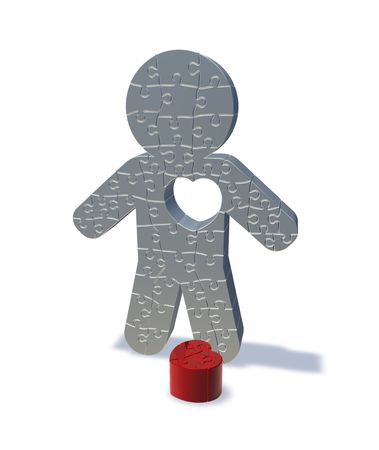 heartbroken: 3d render illustration of a jigsaw man with his heart cut out, representing love lost. Stock Photo