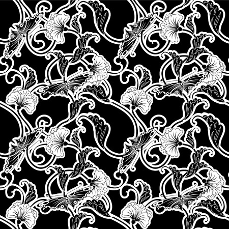 japanese style: Ornate black and white repeating seamless tile pattern of flowers and butterflies in a Japanese style