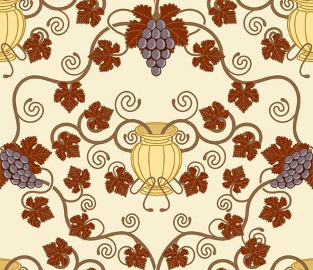 decorative urn: Beautiful vine leaf and urn seamless tile. Designed to look at its best when tiled. Illustration