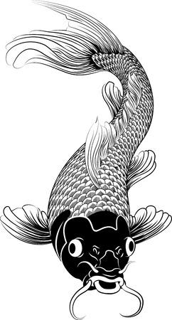 japanese koi carp: Beautiful black and white vector illustration of a Japanese or Chinese inspired koi carp fish Illustration