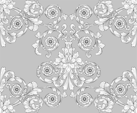 retro seamless tiling floral wallpaper pattern reminiscent of floral victorian designs inspired by greek and roman ornament. Designed to look at its best when tiled.  Vector