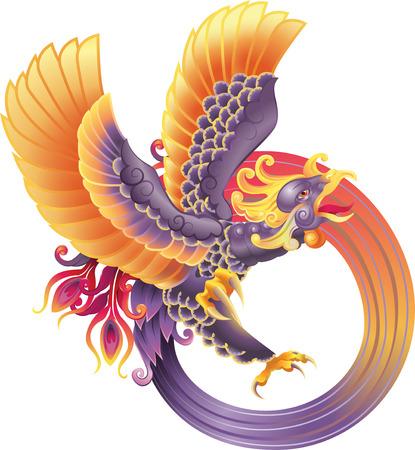 A beautiful phoenix illustration Vector