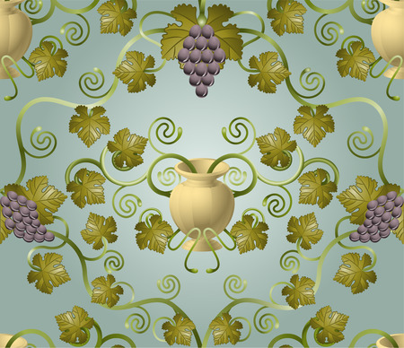 Beautiful vine leaf and urn seamless tile. Designed to look at its best when tiled. Stock Vector - 6270277