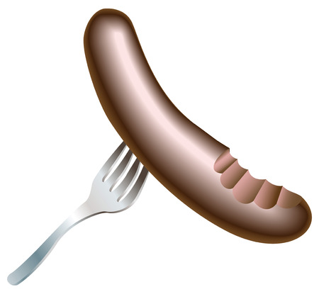 savoury: An illustration of a nice tasty juicy half eaten sausage with bite missing on a fork