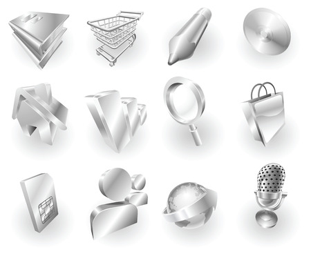 A set of silver steel or aluminium shiny glossy metal metallic internet application icon set series.  Vector