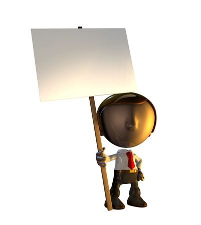 3d business man character mascot standing holding a sign placard on a pole. photo