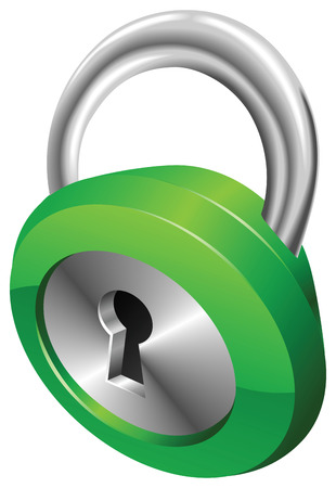 A shiny silver and green steel metallic security padlock illustration with dynamic perspective.  Stock Vector - 7117177
