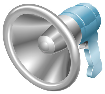 illustration of a glossy steel metallic bullhorn megaphone loudspeaker loudhailer.  Vector