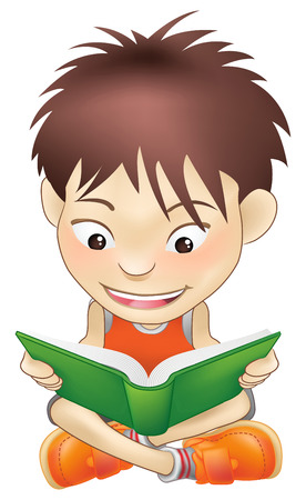 Illustration of a white boy reading a book Vector