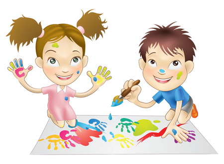 children painting: illustration of two young children playing with paints Illustration