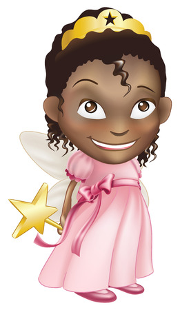 toddler playing: An illustration of a young black girl dressed in a fairy princess costume, with a crown, star wand and butterfly wings