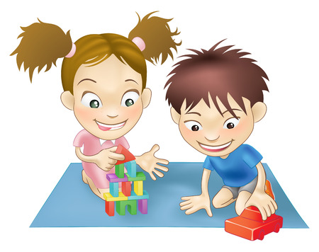 testvérek: An illustration of two white children playing with toys.