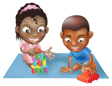 An illustration of two black ethnic chidlren playing with toys on a play mat Vector