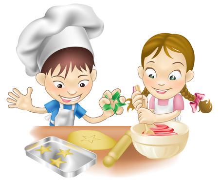 niños cocinando: Una ilustración de dos niños que se divierten en la cocina