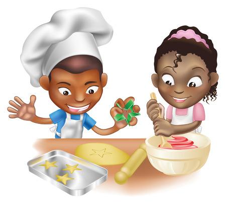 etnia: Una ilustración de dos niños que se divierten en la cocina