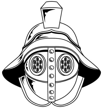 gladiatorial: An illustration of a gladiator helmet Illustration